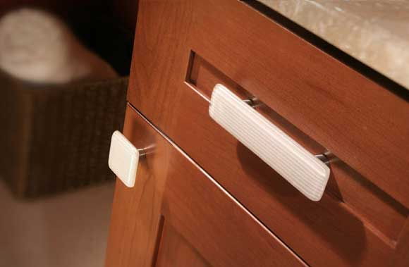 White Stripe Glass Artisan Cabinet Hardware Now at The Home Depot