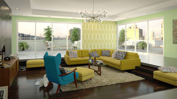 elledecor ad Get the Mad Men Look with Mid Century Furniture from Thrive