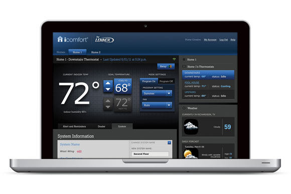 icomfort laptop Lennox iComfort Brings WiFi to Your Thermostat