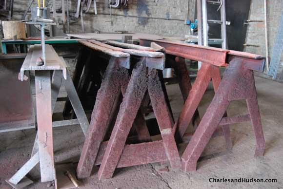metal sawhorses Inside a Chicago Woodshop   Untouched for 65 Years