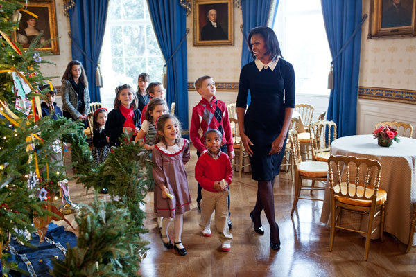michelle obama christmas kids White House Christmas Decorating Ideas