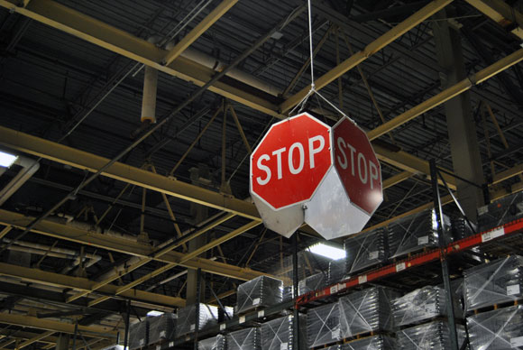 stop sign Clopay Garage Doors Factory Tour