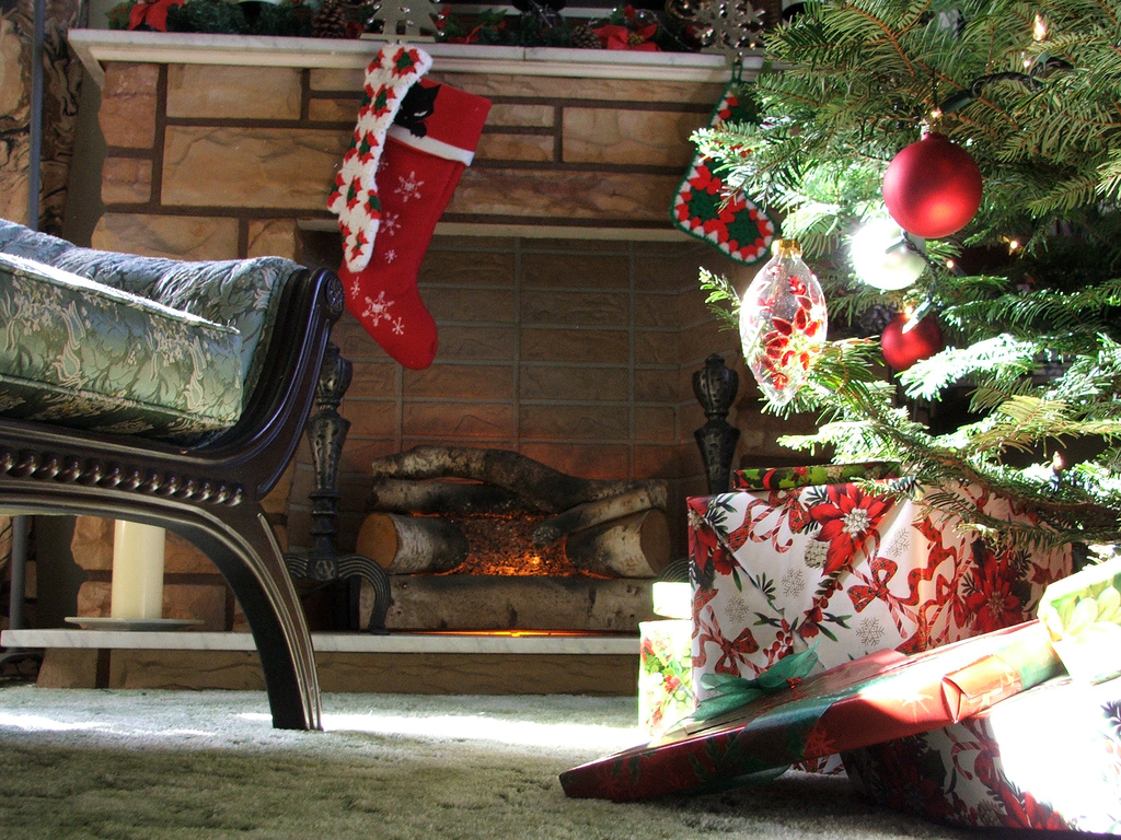 faux fireplace at christmas