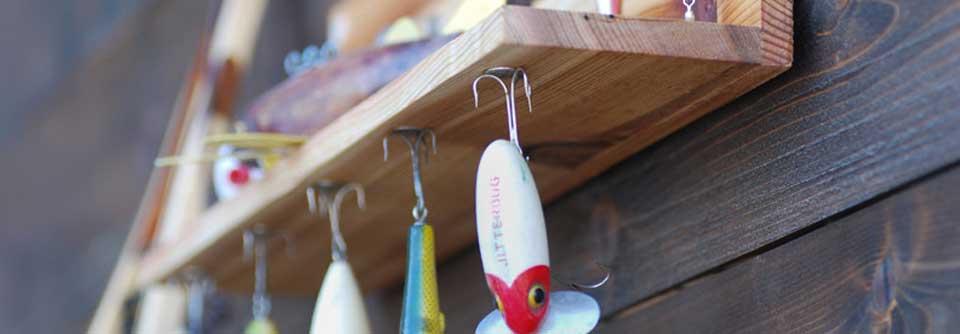 Magnetic vintage fishing lure display shelf for Fishing lure display