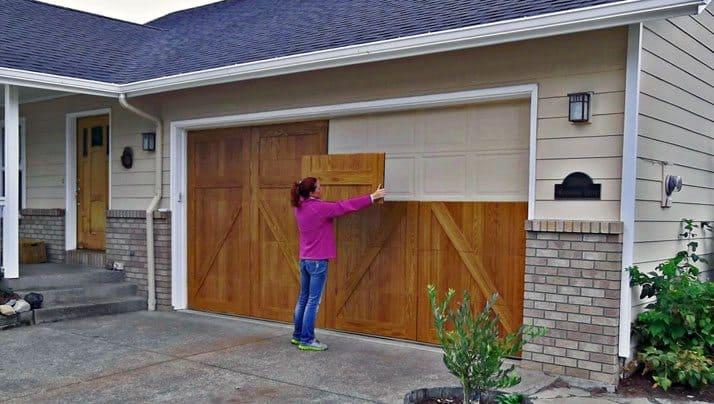 Garageskins give you a wood look without the cost for Cedar wood garage doors price