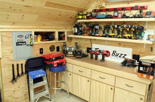 tool battery storage. How To Transform Your Garage Into the Ultimate Home Workshop