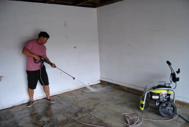 Garage floor makeover with rust oleum epoxyshield for How to clean garage floor