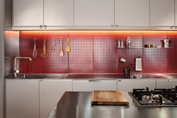 boston kitchen remodel red pegboard backsplash