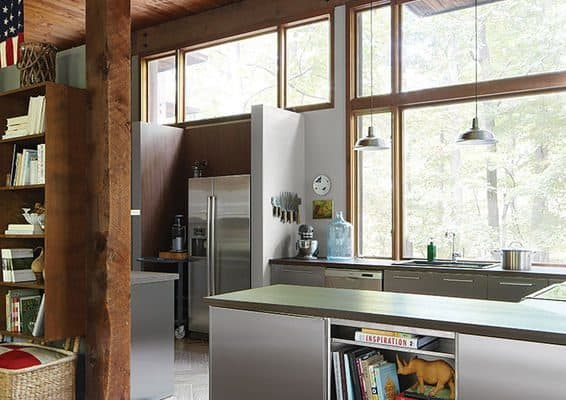 homegrown kitchen seo residence stainless steel cabinets refrigerator ceramic tiles walnut laminate countertops book shelf