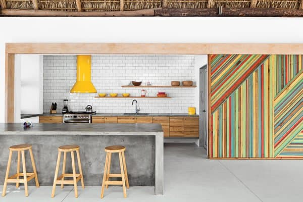 kitchen subway tile concrete island