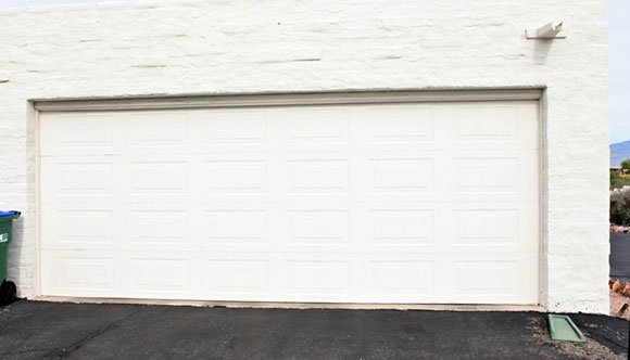 white metal garage door