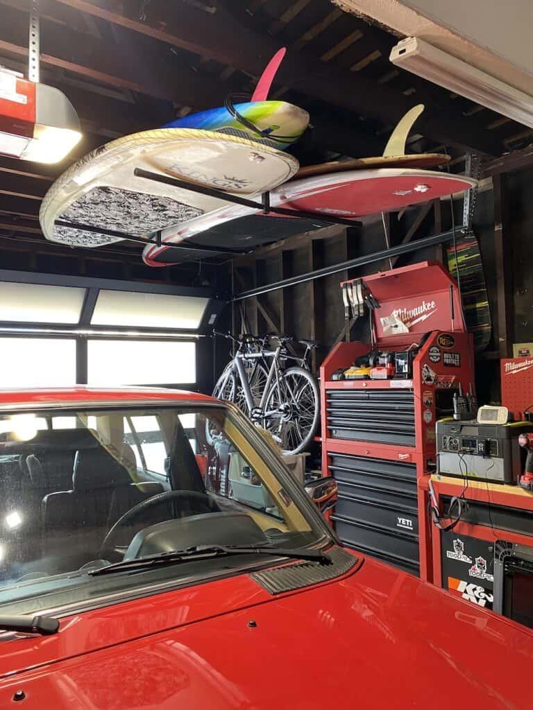 hanging garage surfboard rack