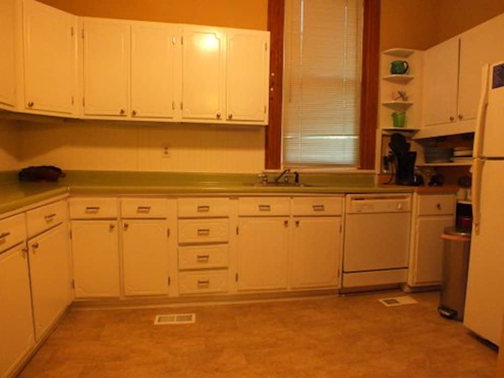 15b Kitchen with view of window and fridge